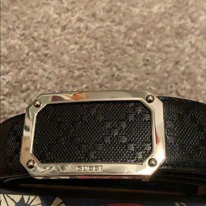Men's Rectangular Black Diamante Leather Belt